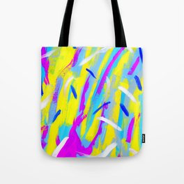 Spice It Up - yellow pink blue abstract painting brushstrokes modern pattern Tote Bag