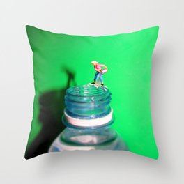 Topping up the Water Bottle  Throw Pillow