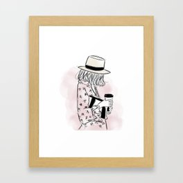 Casual young girl wearing hat and floral dress, clutch bag and a cup of coffee ready to hustle Framed Art Print