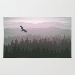 mountain forest in fog and sunrise with stars Rug