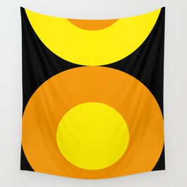 Two suns, one yellow with orange rays,the other orange with yellow rays,both floating in a black sky Wall Tapestry