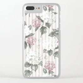 Bohemian pastel pink green floral stripes pattern Clear iPhone Case
