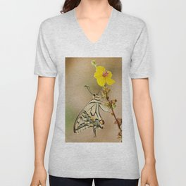 The Old World swallowtail butterfly and the Yellow flower Unisex V-Neck