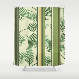 Palm Leaves green stripes Shower Curtain