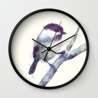 wesley bird Wall Clocks featuring Bird // Trust by Amy Hamilton