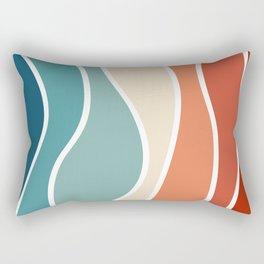 Colorful retro style waves Rectangular Pillow