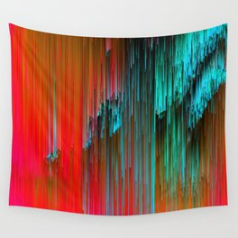 Nice Day for a Walk - Abstract Glitchy Pixel Art Wall Tapestry