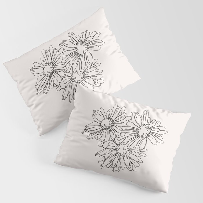 Daisy Flowers Line Drawing Nina I Pillow Sham By Thecolourstudy Society6