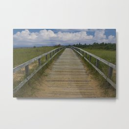 Boardwalk on the Beach on Lake Michigan Metal Print