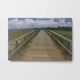 Boardwalk on the Beach on Lake Michigan Metal Print