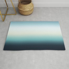 ocean sky color gradient  - blue , white , black Rug