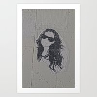 sticker Art Prints featuring Sticker Woman by Q'ba