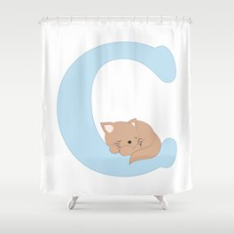 C - blue cat Shower Curtain