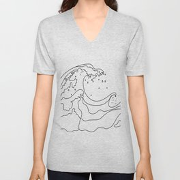 Minimal Line Art Ocean Waves Unisex V-Neck
