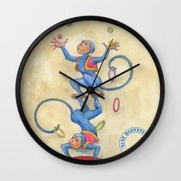 Blue Monkeys Wall Clock
