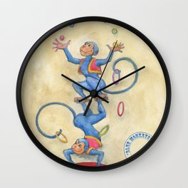 Blue Monkeys Wall Clock