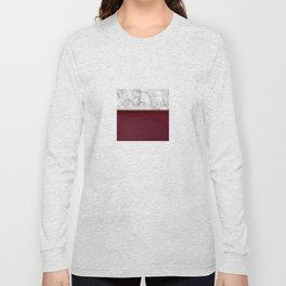 Marble Burgundy Two tone Stone design Long Sleeve T-shirt
