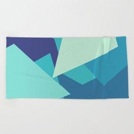 Retro Blue Mid-century Minimalist Geometric Line Abstract Art Beach Towel