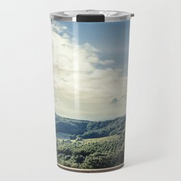 Panoramic view of the rolling hills of Chianti through a window in early morning Travel Mug