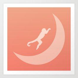 The Monkey Over The Moon Art Print