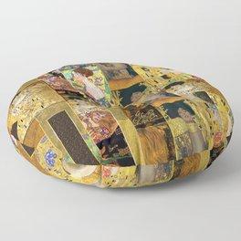 Klimt geometric collage Floor Pillow