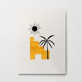 Minimalist Minimal Mid Century Abstract Middle Eastern Ancient Ruins Palm Tree Sun Metal Print