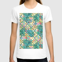 Gilded Moroccan Mosaic Tiles with Palm Leaves T-shirt