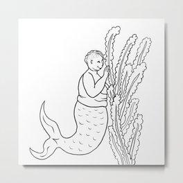 Fat Mermaid Metal Print