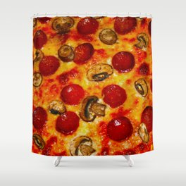 Pepperoni and Mushroom Pizza Shower Curtain