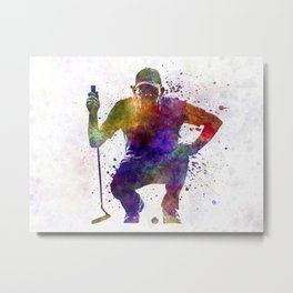 man golfer crouching  silhouette Metal Print