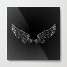 Black Angel Wings Metal Print