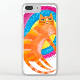 Orange Cat on a rug by Tascha Clear iPhone Case