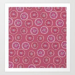 Pink Oranges Pattern Art Print