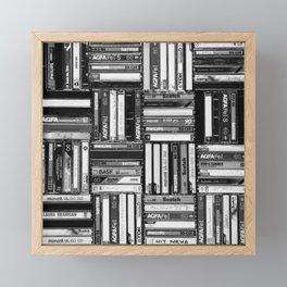 Music Cassette Stacks - Black and White - Something Nostalgic IV #decor #society6 #buyart Framed Mini Art Print