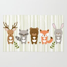 Cute Woodland Forest Animals Rug