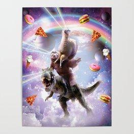 Laser Eyes Space Llama On Sloth Dinosaur - Rainbow Poster