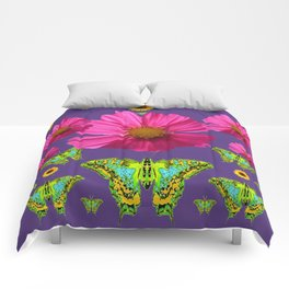 FUCHSIA COSMO FLORALS GREEN MOTHS SUNFLOWERS Comforters