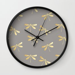 dragonfly pattern: gold & grey Wall Clock