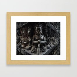 Carved stone wall in Angkor Wat, Cambodia Framed Art Print