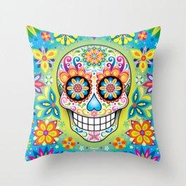 Sugar Skull Art (Jubilee) Throw Pillow