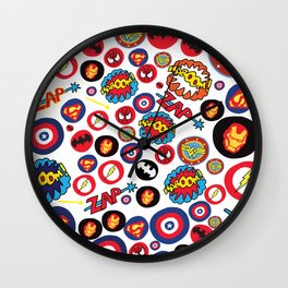 Superhero Stickers Wall Clock