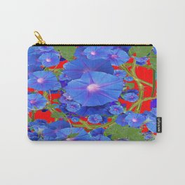 CHINESE RED & BLUE MORNING GLORIES ART  Carry-All Pouch
