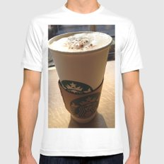 Starbucks MEDIUM Mens Fitted Tee White