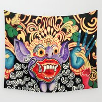 bali Wall Tapestries featuring Color Bali Mask by Brushespapers