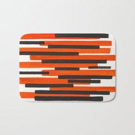 Orange Primitive Stripes Mid Century Modern Minimalist Watercolor Gouache Painting Colorful Stripes Bath Mat