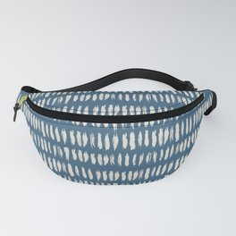 Linen White & Blue Bold Grunge Vertical Stripe Dash Line Pattern Inspired by 2020 Color of the Year Fanny Pack