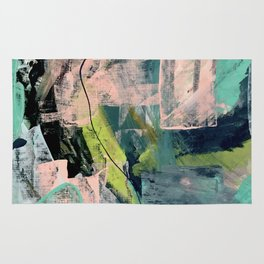 Connect [4] : a vibrant acrylic abstract in neon green, blues, pinks, & hints of orange Rug