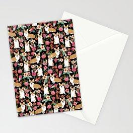 Corgi Florals - vintage corgi and florals gift great for corgi lovers, corgi gift, corgi florals, co Stationery Cards