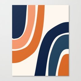 Abstract Shapes 35 in Burnt Orange and Navy Blue Canvas Print