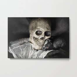 Clothed Skeleton with Pet Rat Metal Print